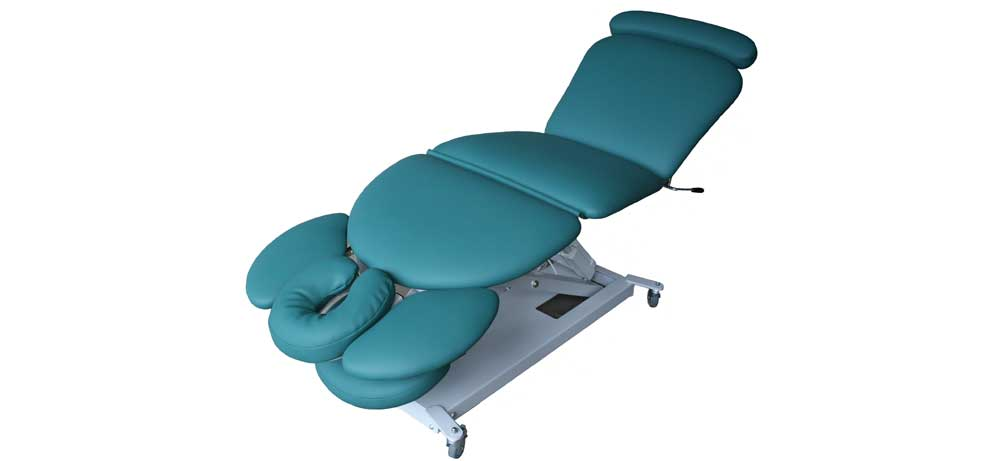 Firm-n-Fold electric body contour massage table with midlift and tail lift for remedial therapists