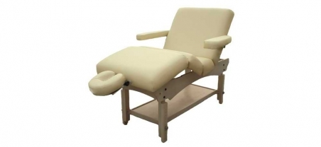 Firm-n-Fold Archer Deluxe Natural Timber Stationary Spa Table with gas lift back and knee rest